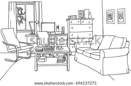 Simple Vector Of Modern Living Room With Furniture Table Sofa Armchair Desk Drawing