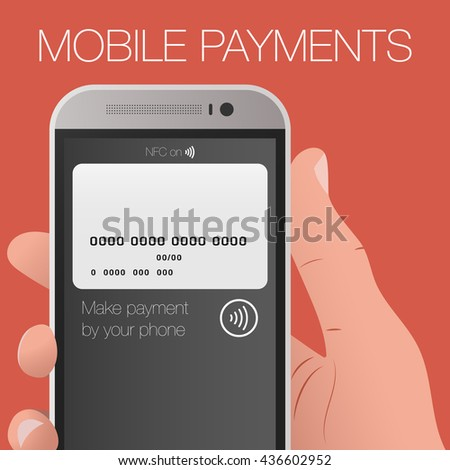 Vector illustration of modern smartphone with processing of mobile payments from credit card on the screen.