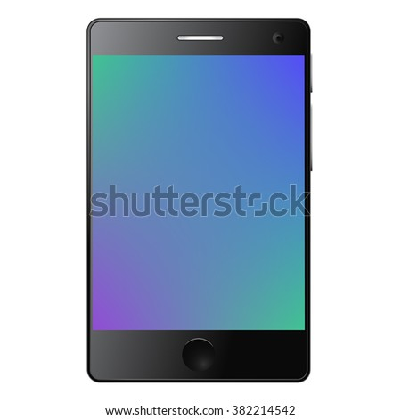 Vector illustration of modern touch screen smart phone with reflection. Isolated on white background. Circle button. Gradient screen. Green. Blue. Purple. Front camera.