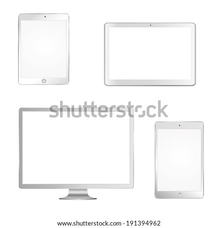 vector illustration of modern white gadgets, monitor, tablet, laptop, on a white background - stock vector