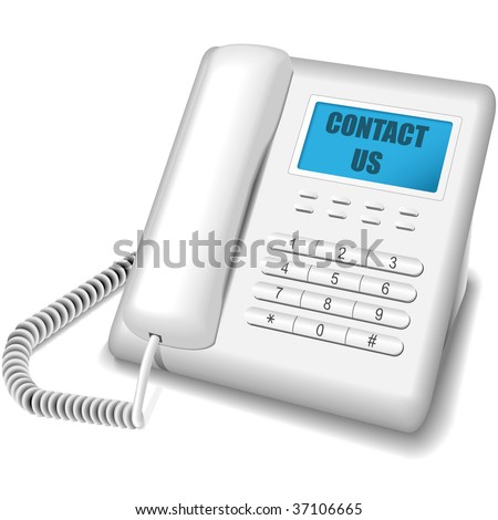 Vector illustration of modern white telephone isolated on white background. Contact us icon. - stock vector