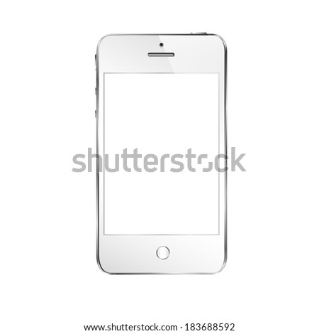 vector illustration of modern white telephone on white background - stock vector