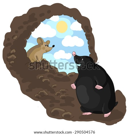 Vector illustration of mole and mouse