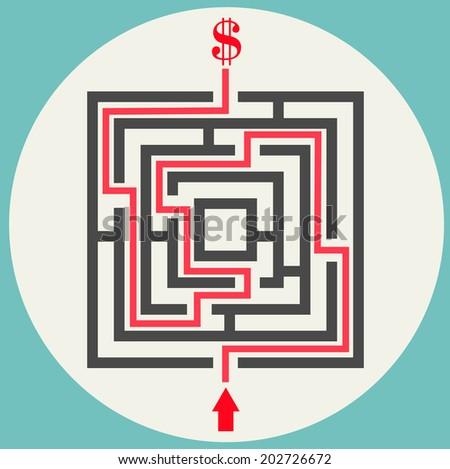 Vector illustration of money maze - stock vector