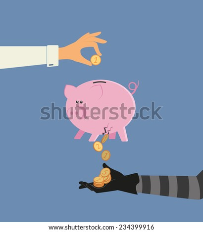 Vector illustration of money stealing from bank deposit - stock vector