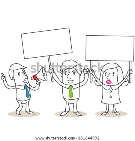 Vector illustration of monochrome cartoon characters: Group of angry business people protesting and holding up blank signs. - stock vector