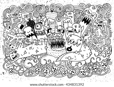 Vector illustration of Monsters and cute alien,cute monster. Monster flat, monster background,Doodle Style