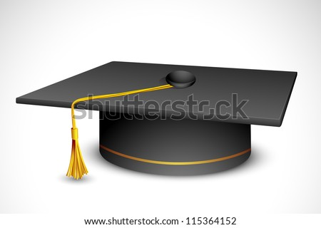 vector illustration of mortar board against white background - stock vector