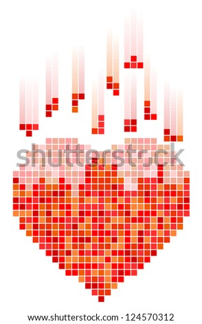 Vector illustration of mosaic heart for Valentine's Day - stock vector