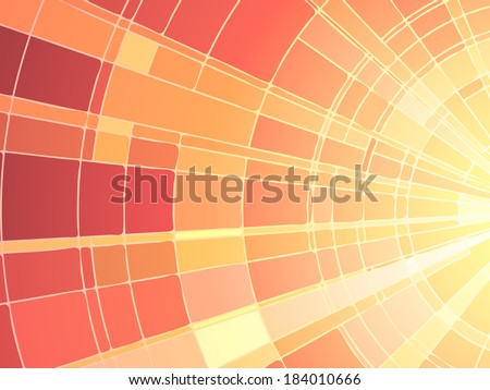 Vector illustration of mosaic sun rays, stained glass window. - stock vector