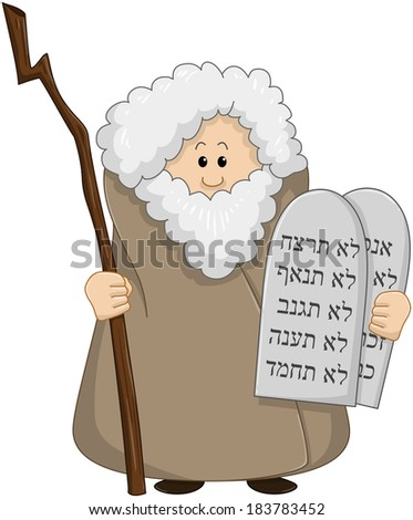 Vector illustration of Moses holding the ten commandments.  - stock vector