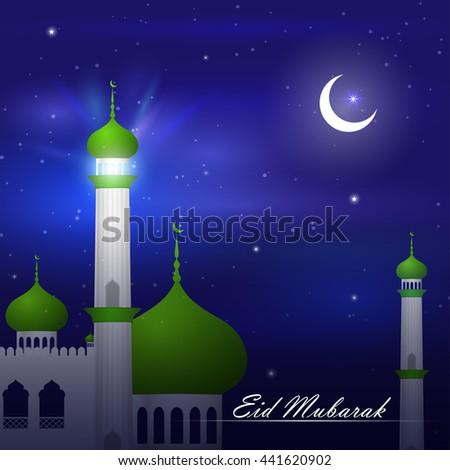 vector illustration of mosque on Eid Mubarak ( Blessing for Eid) background  - stock vector