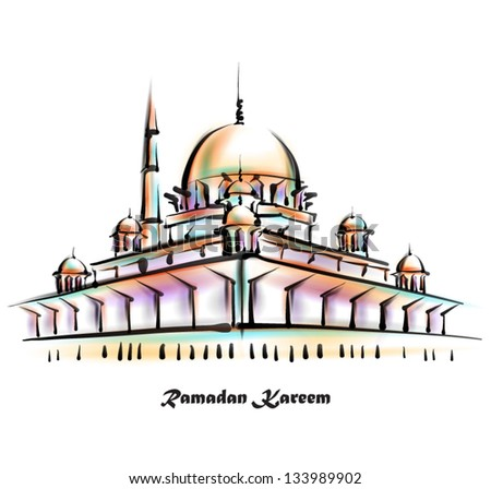 Vector Illustration of Mosque. Translation: Ramadan Kareen - May Generosity Bless You During The Holy Month - stock vector