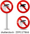 Vector illustration of mosquito sign on white background - stock photo