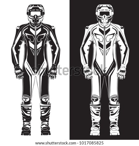 Vector Illustration Motorcycle Riding Race Suit Stock Vector ...