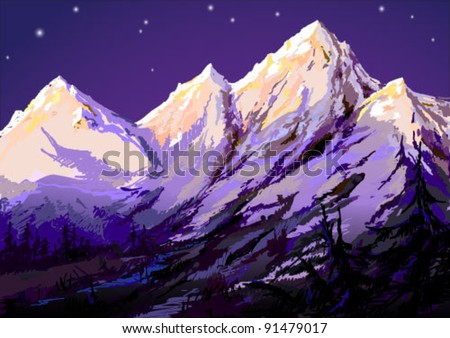 Vector illustration of mountains landscape at night. - stock vector