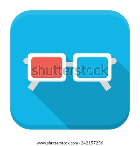 Vector illustration of movie glasses. Flat app square icon with long shadow. - stock vector