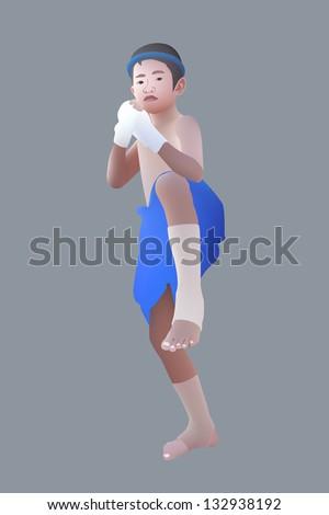 Vector illustration of Muay Thai or Thai boxing boy - stock vector