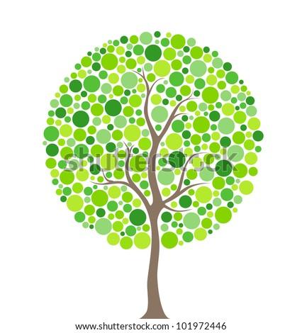 Vector illustration of multicolored circles tree - stock vector