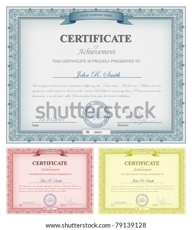Vector illustration of multicolored detailed certificates - stock vector