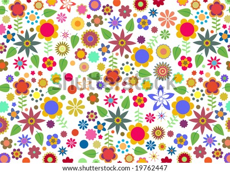 Vector illustration of multicolored funky flowers and leaves abstract pattern on white background - stock vector