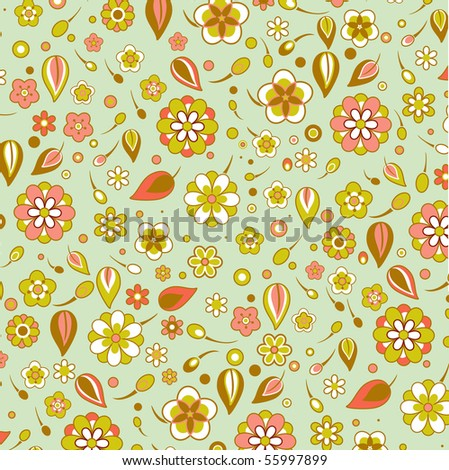 Vector illustration of multicolored funky flowers and leaves retro pattern background - stock vector