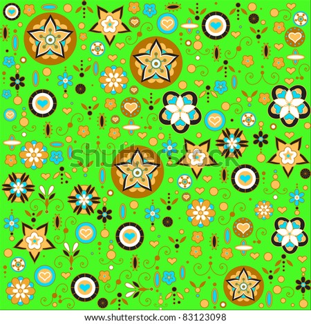 Vector illustration of multicolored funky flowers and leaves retro pattern on the green background - stock vector