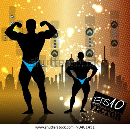 Vector illustration of muscle man - stock vector