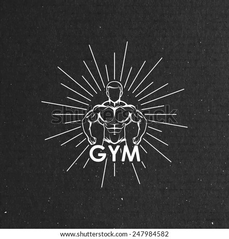 Vector illustration of muscled man body silhouette and burst on the black cardboard texture. fitness or bodybuilding gym hipster logo concept - stock vector