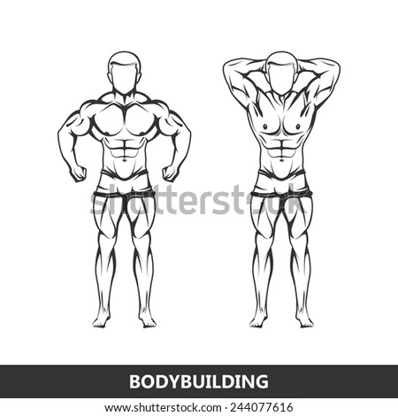 Vector illustration of muscled man body silhouettes. posing athlete. fitness or bodybuilding logo concept - stock vector