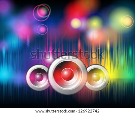 Vector illustration of music disco background with glittering rainbow lights - stock vector