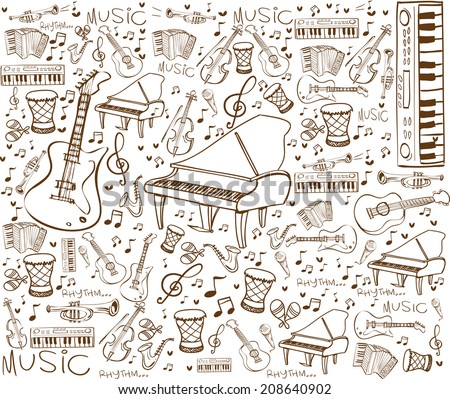 Vector illustration of music instruments in doodle style, brown on white - stock vector