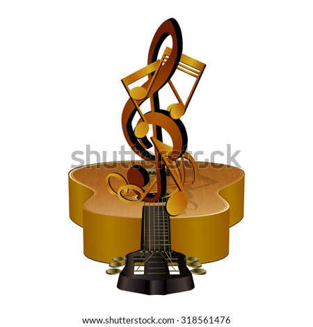 Vector illustration of musical notes in the treble clef, on acoustic guitar. Isolated objects can be used in any work for the billboard or a poster, as well as separately. - stock vector