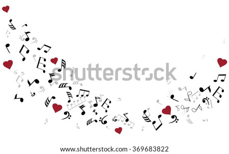 vector illustration of musical notes with hearts - stock vector