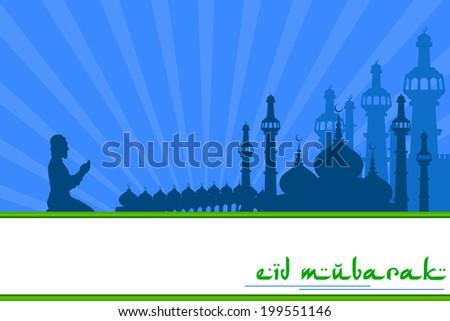 vector illustration of muslim offering namaaz on Eid Mubarak ( Blessing for Eid) background - stock vector