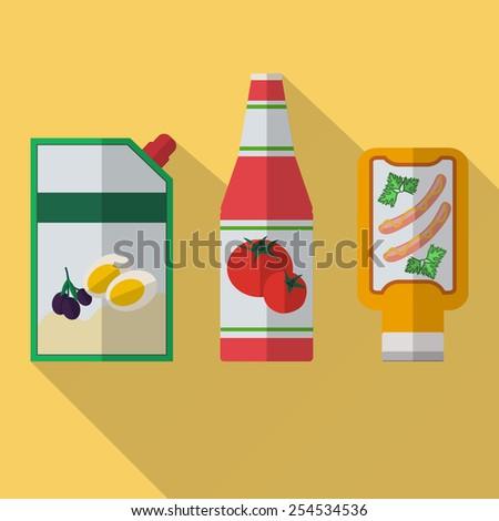 Vector illustration of mustard, mayonnaise, ketchup. - stock vector