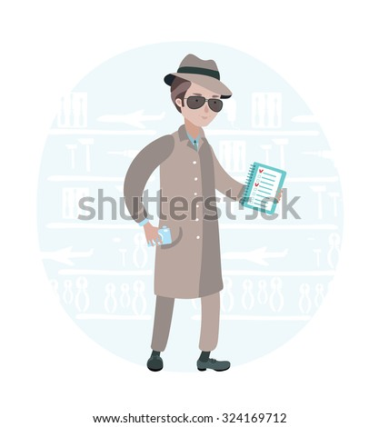 Vector illustration of mystery shopper in a store with camera in his hand and check sheet in the other  - stock vector