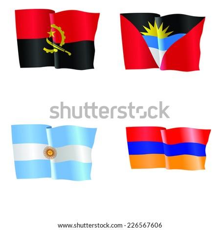 vector illustration of national flag of Angola, Antigua and Barbuda, Argentina, Armenia  - stock vector
