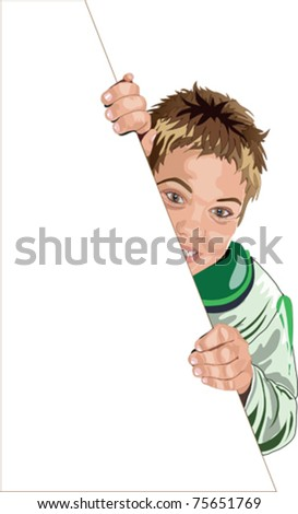 vector illustration of naughty  boy who keeps a sheet of white paper - stock vector