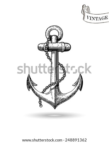 Vector illustration of nautical anchor. Symbol of sailors, sail, cruise and sea. Travel design. Icon and design element. - stock vector