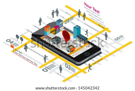 Vector illustration of navigation map and building on Smart phone screen, Smartphone with map, - stock vector