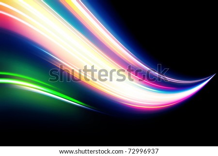 Vector illustration of neon abstract background made of blurred magic color light curved lines - stock vector