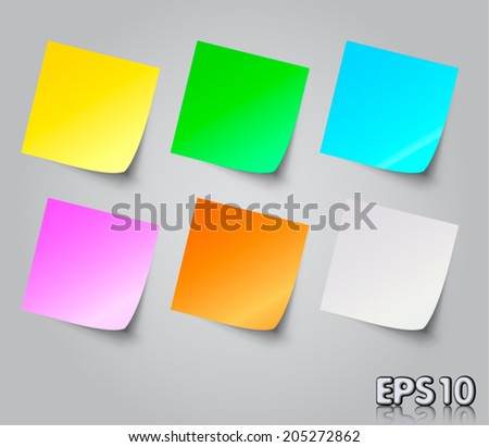 Vector illustration of neon colour post it notes isolated on grey background