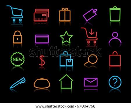 Vector illustration of neon original e-commerce Icon Set, good for web, software etc. - stock vector