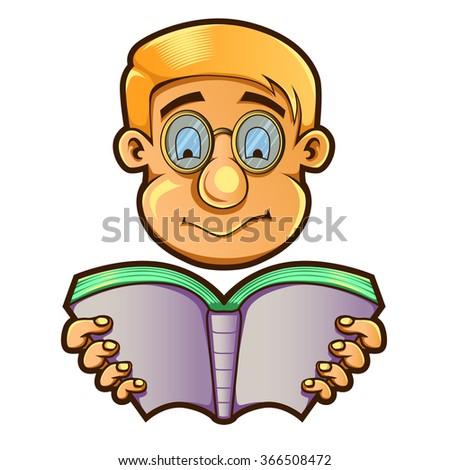 Vector Illustration Of Nerd Looking a Book - stock vector