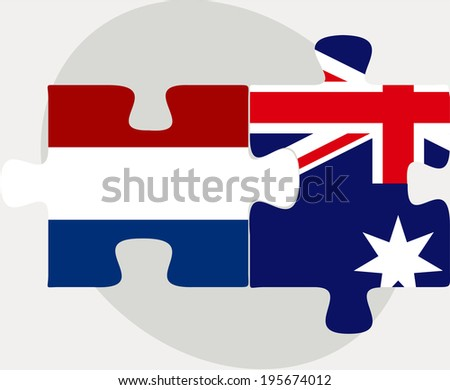 Vector illustration of Netherlands and Australia Flags in puzzle isolated on white background - stock vector
