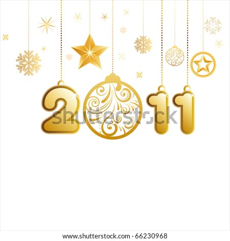vector illustration of new year 2011 - stock vector