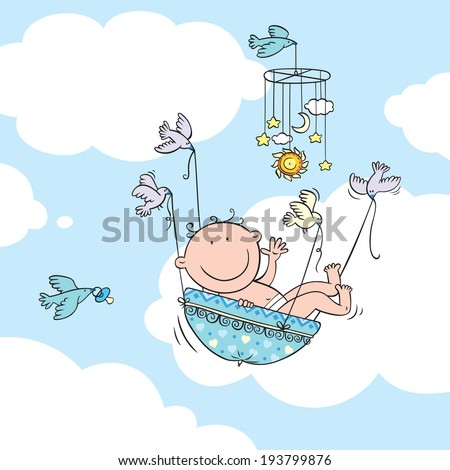 Vector illustration of newborn baby boy carried by birds. - stock vector