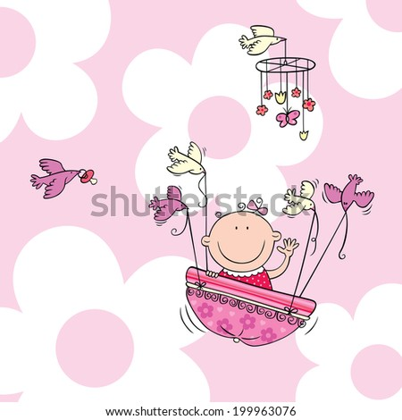Vector illustration of newborn baby girl carried by birds. - stock vector