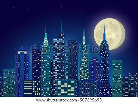 Vector Illustration Night City New York Stock Vector